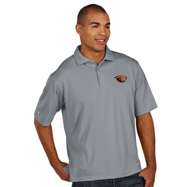 Oregon State Mens Pique Xtra Lite Polo Shirt (Color: Gray)