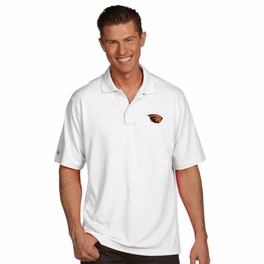 Oregon State Mens Pique Xtra Lite Polo Shirt (Color: White) - Medium