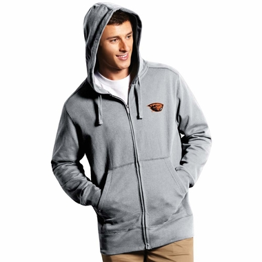 Oregon State Mens Signature Full Zip Hooded Sweatshirt (Color: Gray)