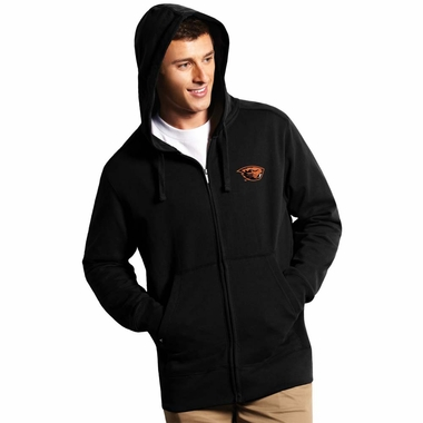 Oregon State Mens Signature Full Zip Hooded Sweatshirt (Color: Black)