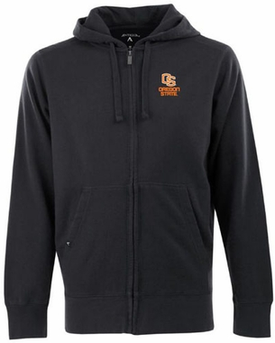 Oregon State Mens Signature Full Zip Hooded Sweatshirt (Team Color: Black)