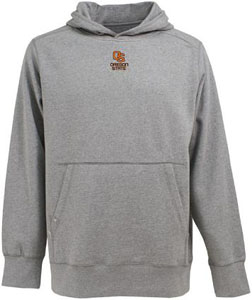 Oregon State Mens Signature Hooded Sweatshirt (Color: Gray) - Small
