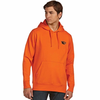 Oregon State Mens Signature Hooded Sweatshirt (Color: Orange)