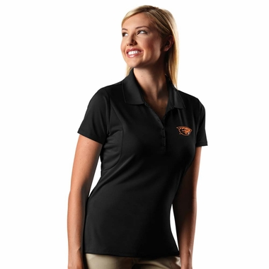 Oregon State Womens Pique Xtra Lite Polo Shirt (Color: Black) - Large