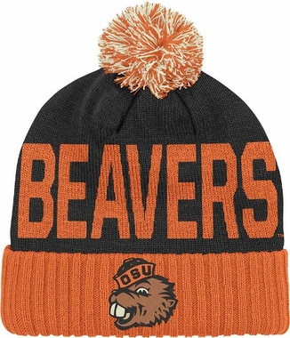Oregon State Wordmark & Logo Pom Knit Hat