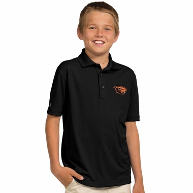 Oregon State YOUTH Unisex Pique Polo Shirt (Color: Black)