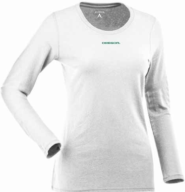 Oregon Womens Relax Long Sleeve Tee (Color: White)