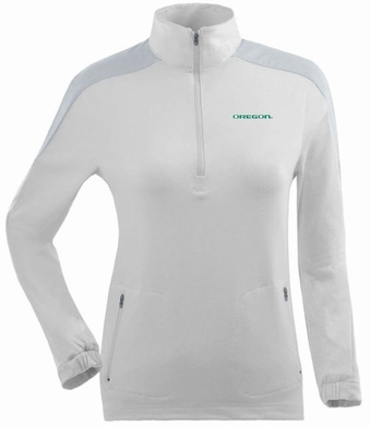 Oregon Womens Succeed 1/4 Zip Performance Pullover (Color: White)