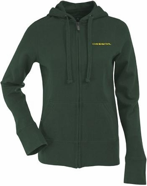 Oregon Womens Zip Front Hoody Sweatshirt (Team Color: Green)