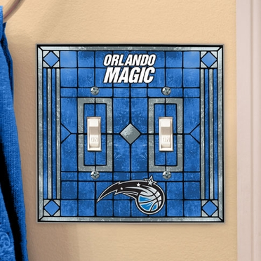 Orlando Magic Art Glass Lightswitch Cover (Double)
