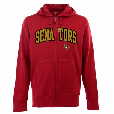 Ottawa Senators Mens Applique Full Zip Hooded Sweatshirt (Team Color: Red)