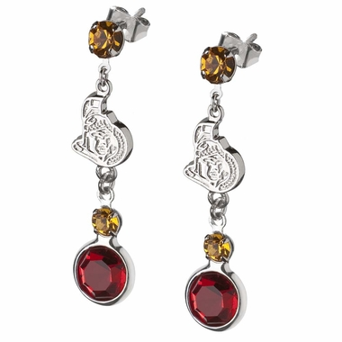 Ottawa Senators Crystal Logo Dangle Earrings