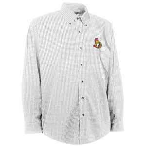 Ottawa Senators Mens Esteem Check Pattern Button Down Dress Shirt (Color: White) - Small