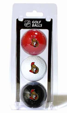 Ottawa Senators Set of 3 Multicolor Golf Balls