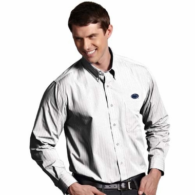Penn State Mens Achieve Striped Button Down Dress Shirt (Color: White)