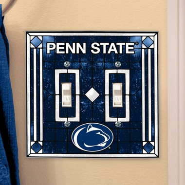 Penn State Art Glass Lightswitch Cover (Double)