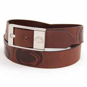Penn State Brown Leather Brandished Belt - Size 32 (For 30 Inch Waist)