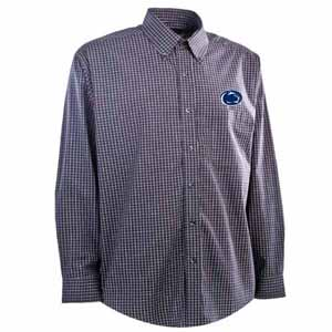 Penn State Mens Esteem Check Pattern Button Down Dress Shirt (Team Color: Navy) - Large