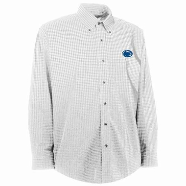 Penn State Mens Esteem Check Pattern Button Down Dress Shirt (Color: White)