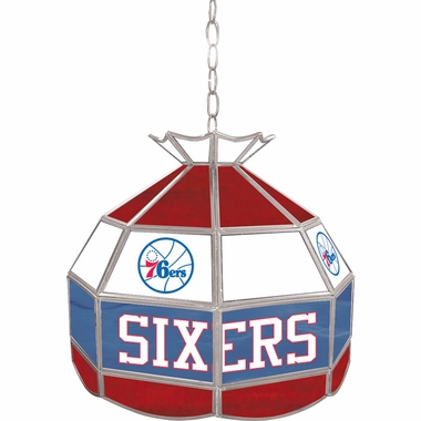 Philadelphia 76ers 16 Inch Diameter Stained Glass Pub Light