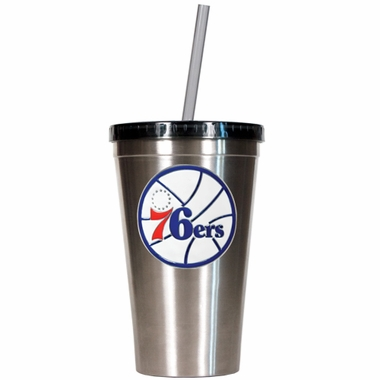 Philadelphia 76ers 16oz Stainless Steel Insulated Tumbler with Straw