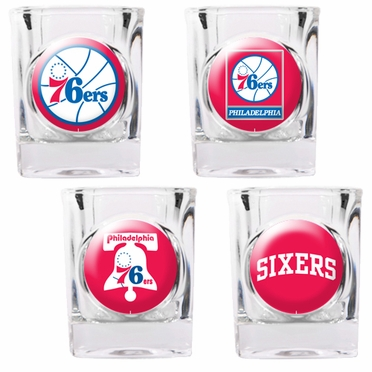 Philadelphia 76ers 4 Piece Assorted Shot Glass Set
