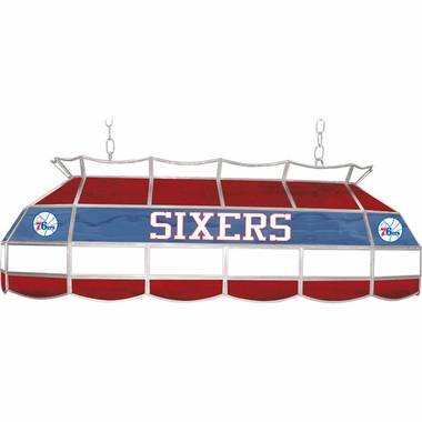 Philadelphia 76ers 40 Inch Rectangular Stained Glass Billiard Light