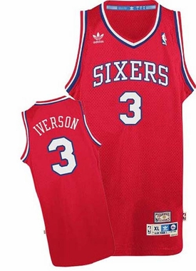 Philadelphia 76ers Allen Iverson Adidas Throwback Red Swingman Jersey