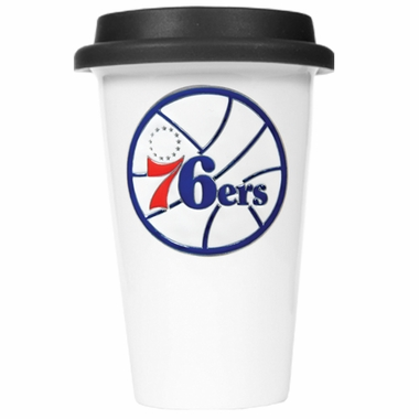 Philadelphia 76ers Ceramic Travel Cup (Black Lid)