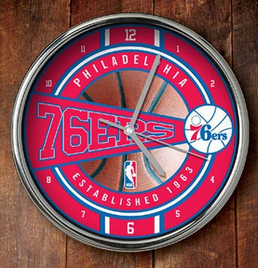 Philadelphia 76ers Chrome Clock