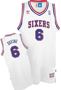 Philadelphia 76ers Julius Erving White Throwback Replica Premiere Jersey - Medium