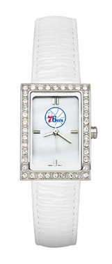 Philadelphia 76ers Women's White Leather Strap Allure Watch