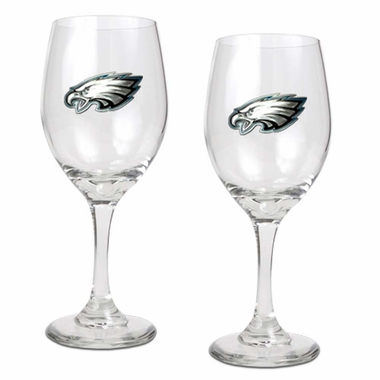 Philadelphia Eagles 2 Piece Wine Glass Set