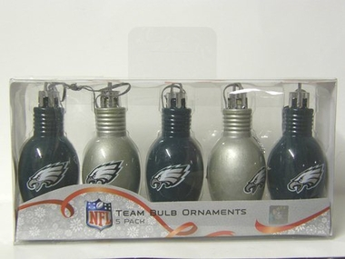 Philadelphia Eagles 5 Pack Bulb Ornaments