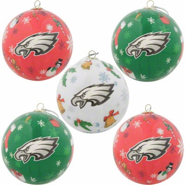 Philadelphia Eagles 5 Pack Decoupage Ball Ornament Set