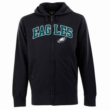 Philadelphia Eagles Mens Applique Full Zip Hooded Sweatshirt (Team Color: Black)