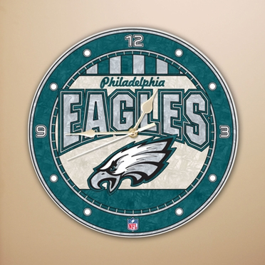 Philadelphia Eagles Art Glass Clock