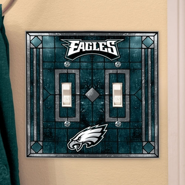 Philadelphia Eagles Art Glass Lightswitch Cover (Double)