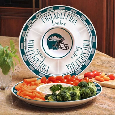 Philadelphia Eagles Ceramic Chip and Dip Plate