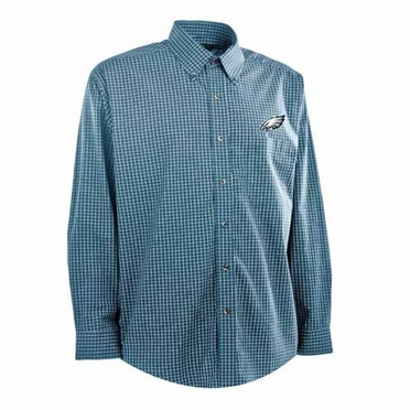 Philadelphia Eagles Mens Esteem Check Pattern Button Down Dress Shirt (Team Color: Teal)