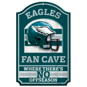 "Philadelphia Eagles Wood Sign - 11""x17"" Fan Cave Design"