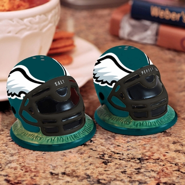 Philadelphia Eagles Helmet Ceramic Salt and Pepper Shakers