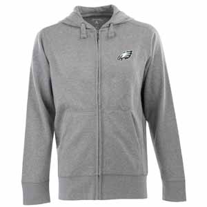 Philadelphia Eagles Mens Signature Full Zip Hooded Sweatshirt (Color: Gray) - Small