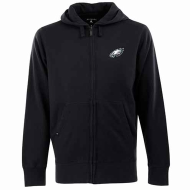 Philadelphia Eagles Mens Signature Full Zip Hooded Sweatshirt (Team Color: Black)