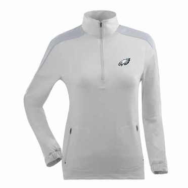 Philadelphia Eagles Womens Succeed 1/4 Zip Performance Pullover (Color: White)