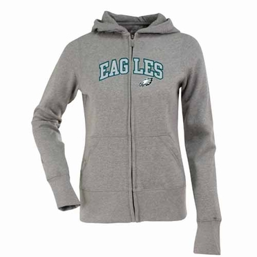 Philadelphia Eagles Applique Womens Zip Front Hoody Sweatshirt (Color: Gray)