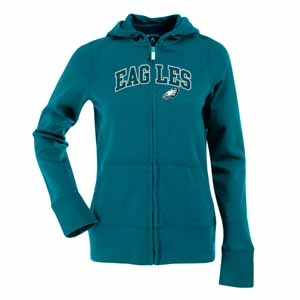 Philadelphia Eagles Applique Womens Zip Front Hoody Sweatshirt (Team Color: Teal) - Large