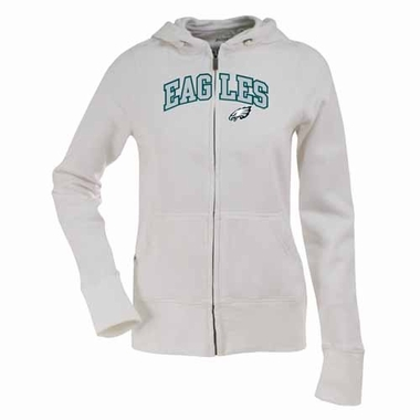 Philadelphia Eagles Applique Womens Zip Front Hoody Sweatshirt (Color: White)