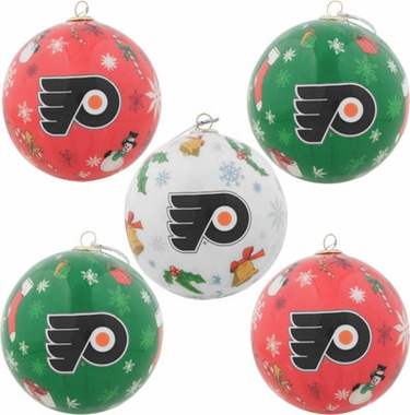 Philadelphia Flyers 5 Pack Decoupage Ball Ornament Set