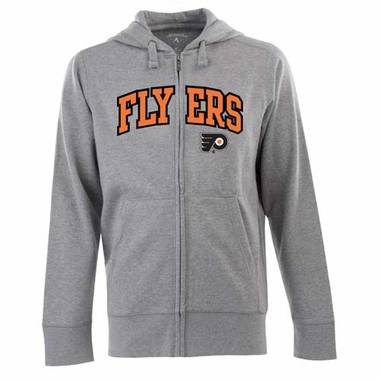 Philadelphia Flyers Mens Applique Full Zip Hooded Sweatshirt (Color: Gray)